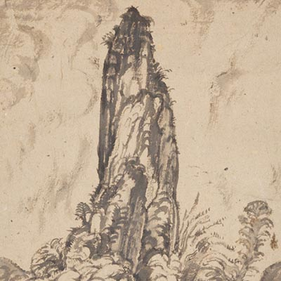 岩図(軽井沢)<br /><span>バーナード・リーチ 紙本墨画 軸装 大正時代〔日本〕1919年 26.0 x 22.0cm</span>