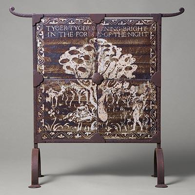 鉄砂抜絵組合せ陶板「森の中の虎」<br /><span>バーナード・リーチ セント・アイヴス イギリス 1946年 65.5 x 65.5cm</span>