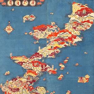 沖縄絵図<br /><span>芹沢銈介 軸装 絹、型染 昭和時代〔日本〕1939年 133.5 x 109.8cm</span>