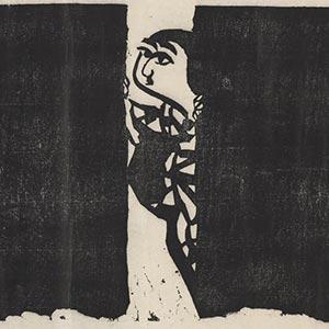 善知鳥版画巻 夜訪の柵<br /><span>棟方志功 巻子(全31柵) 紙本墨摺 昭和時代〔日本〕1938年 25.9 x 28.2cm</span>