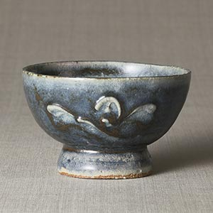 呉須筒描花文茶碗