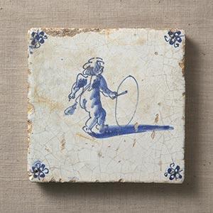 藍絵天使図タイル