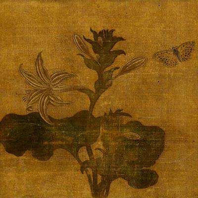 玉簪花遊蝶図<br /><span>軸装 絹本着色 明時代〔中国〕15世紀 25.5 x 34.8cm</span>