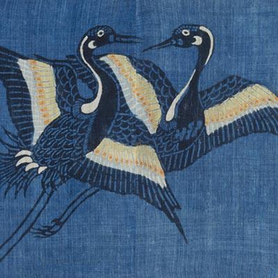 三河万歳衣裳裂<br /><span>大麻、型染 軸装〈3幅のうち〉 三河 江戸時代〔日本〕17世紀 43.0 x 56.0 cm</span>
