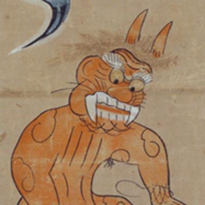 大津絵 鬼の行水<br /><span>軸装 紙本着色 江戸時代〔日本〕17世紀後半~18世紀前半 63.0 x 22.5cm</span>