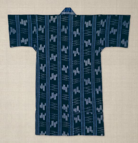 紺地経縞に絣袷衣裳