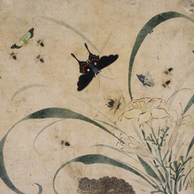 草虫図<br /><span>対幅のうち右幅 紙本着色 朝鮮時代〔朝鮮半島〕19世紀 40.3 x 28.7cm</span>