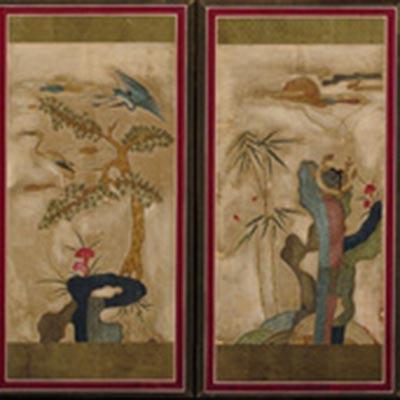 十長生図屏風<br /><span>8曲1隻 絹、刺繍 朝鮮時代〔朝鮮半島〕19世紀 78.3 x 323.2cm</span>