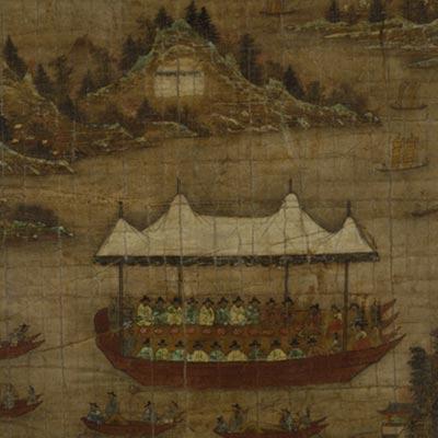 宣伝官庁契会図<br /><span>軸装 紙本着色 朝鮮時代〔朝鮮半島〕18世紀後半 73.8 x 69.5cm</span>