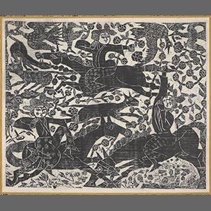 華狩頌<br /><span>棟方志功 軸装 紙本墨摺 昭和時代〔日本〕1954年 132.0 x 158.0cm</span>