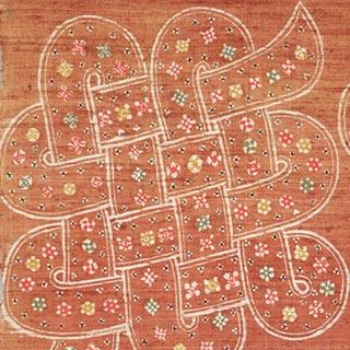 紐結び文布(部分)<br /><span>芹沢銈介 紬、型染 昭和時代〔日本〕1946年 69.0 x 191.0cm</span>
