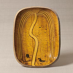 ガレナ釉櫛描柳文楕円皿<br /><span>バーナード・リーチ セント・アイヴス イギリス 1952年 5.6×25.8×33.4cm</span>