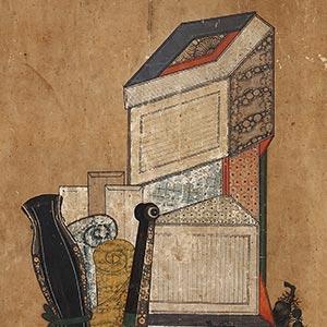 冊架文房図屏風<br /><span>2曲1隻 紙本着色 朝鮮時代〔朝鮮半島〕19世紀 128.4×86.6cm</span>